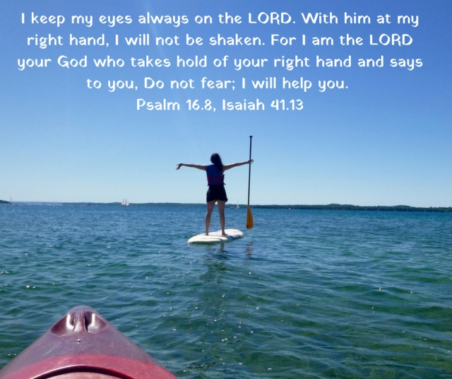 I keep my eyes always on the LORD. With him at my right hand, I will not be shaken. For I am the LORD your God who takes hold of your right hand and says to you, Do not fear; I will help