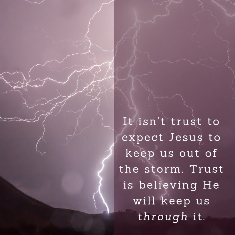 It isn't trust to expect Jesus to keep us out of the storm. Trust is believing He will keep us through it.